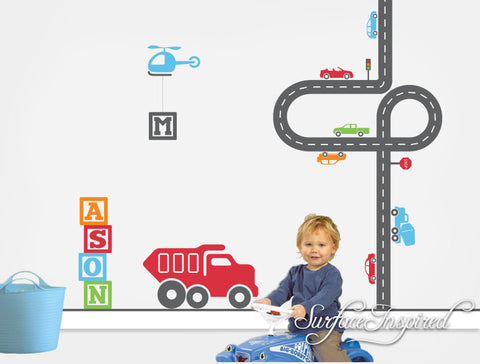 Car Wall Decals for Nursery and Playrooms. Cars, road, helicopter, truck and custom name wall decal included!