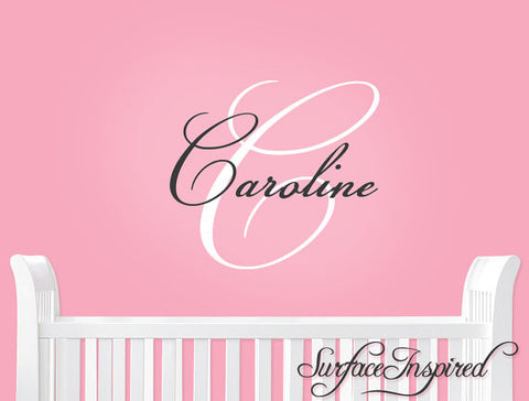Name Wall Decal - Personalized Monogram Wall Decals for Nursery Caroline Style