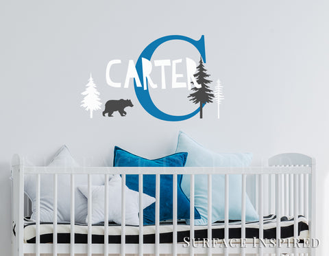 Personalized Name Wall Decal Vinyl Wall Art Carter with Scandinavian Bear and Trees Wall Decal