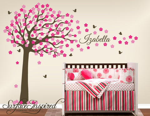 Large Cherry Blossom Tree Wall Decal With Scripted Font