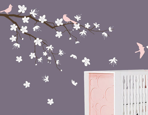 Nursery Wall Decals Contemporary Blossom Branch Vinyl Wall Decal