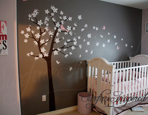 Nursery Wall Decal   Contemporary Cherry Blossom Tree Wall Decal