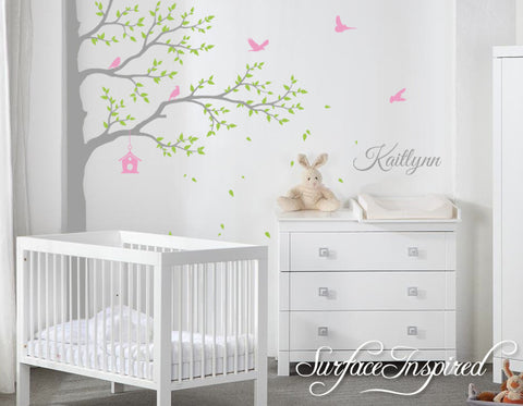 Nursery Wall Decals Stickers Large Corner Tree with Custom Name Decal
