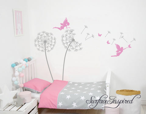 Nursery Wall Decals Personalized Name Tree Wall Decal Dandelions With Fairies And Butterflies