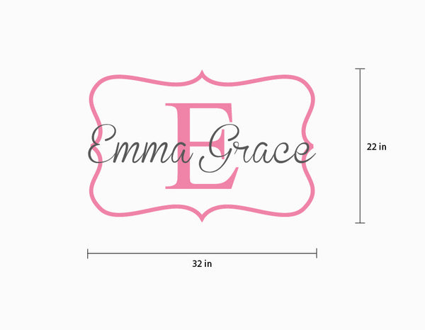 Name Wall Decal Emma Grace Monogram Wall Decal For