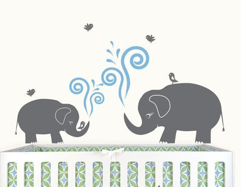 Nursery Wall Decals Cute Elephants with Birds Vinyl Wall Decal