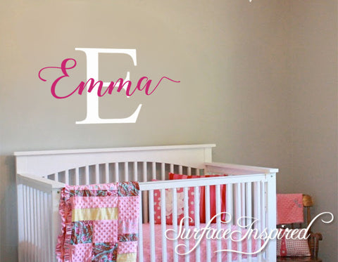Nursery Wall Decals. Personalized Names Wall Decal Kids Wall Decal Emma With Large Initial