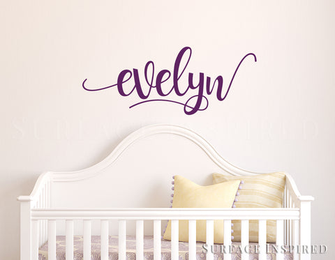 Nursery Wall Decal Kids Wall Decal Wall Decals For Girls or Boys. Wall Decals Personalized Names Vinyl Wall Decal Evelyn Swirl Style Decal