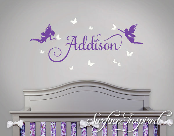 Custom Name Wall Decal With Beautiful Fairies Script And Butterflies Surface Inspired Home Decor Wall Decals Wall Art Wooden Letters