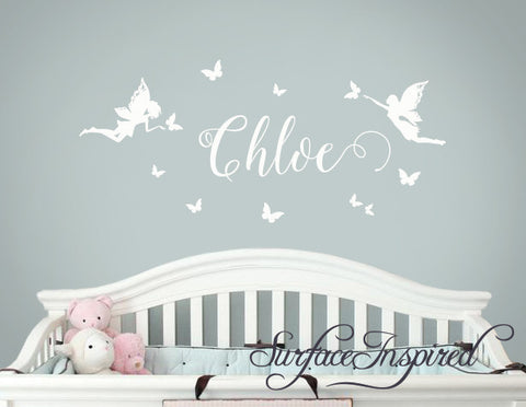 Wall Decals Personalized Names Nursery Wall Decal Kids CHLOE WITH FAIRY BUTTERFLY DECALS