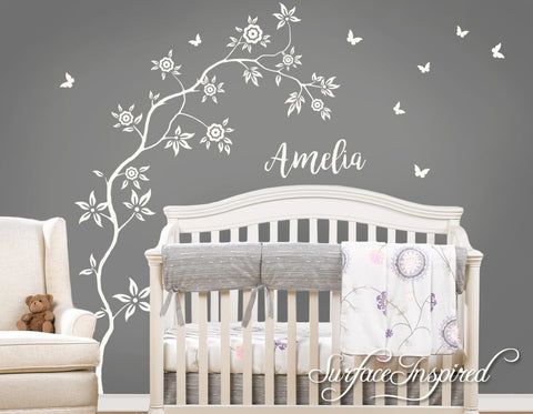 Wall Decal Nursery Tree With Personalized Name Amelia Style Tree with Butterflies