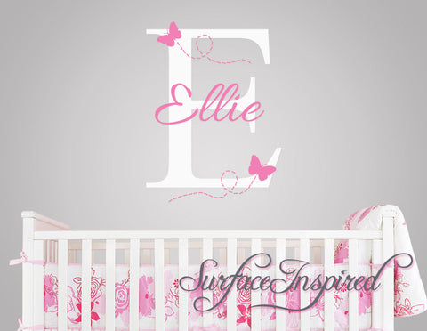 Custom Name Wall Decal - Ellie with flying butterflies