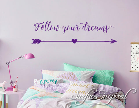 wall decal quote follow your dreams wall decal for kids – surface