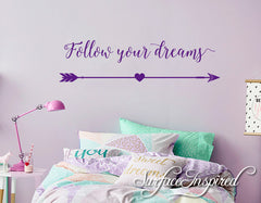 Wall Decal Quote Follow Your Dreams Wall Decal For Kids