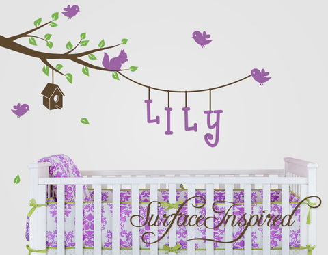 Branch and hanging name wall decal with birds and birdhouse. Tree wall decal for nursery.