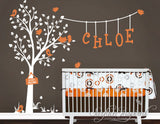 Nursery Wall Decals Cute Garden Tree with Custom Name