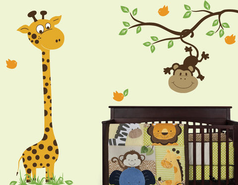 Nursery Wall Decals Baby Giraffe With Monkey Branch Vinyl Wall Decal