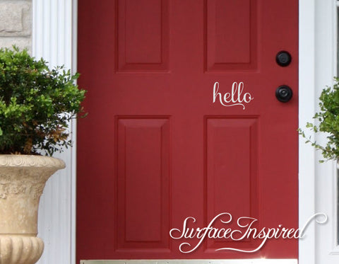 Wall Decal Quote Door Hello Vinyl Door Decal Lettering Sticker