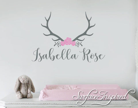 Nursery Wall Decals. Personalized names wall decal for girls rooms. Personalized wall decal made in any colors and size you want Isabella Rose With Horns Name Decal