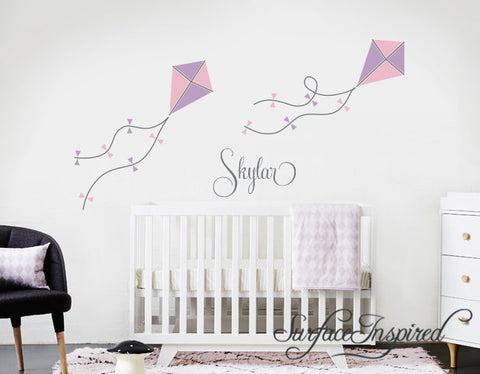 Wall Decals Personalized Name Kites Wall Decals Large Stickers Vinyl Decal Stickers Nursery Personalized Name