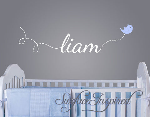 Custom Name Wall Decal - Liam name with flying bird
