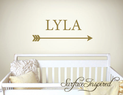 Name Wall Decals Nursery Vinyl Lettering Personalized Name Decal Lyla with Arrow Style