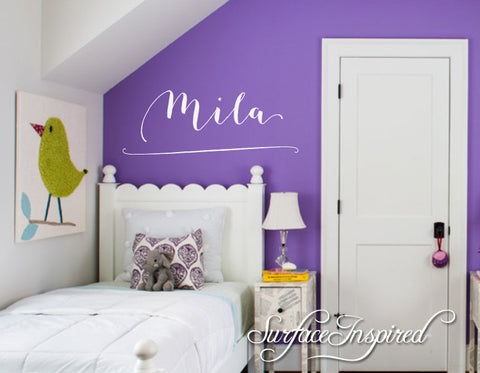 Personalized Childrens Wall Decal - Girls and Boys Name Wall Decal - Mila Style