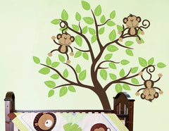 Nursery Wall Decals Monkeys Jumping On A Tree Vinyl Wall Decal