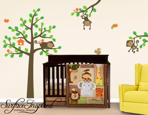 Monkey Tree Wall Decals - Tree wall decal with monkeys and animals on branches