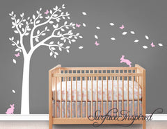 Tree Decal With Adorable Bunnies and Butterflies