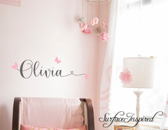 Wall Decals Personalized Names Nursery Wall Decal Kids OLIVIA WITH HEART SWIRL
