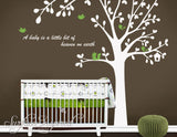 Nursery Wall Decals Big Tree with Animals and Custom Quote