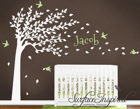 Large Autumn Tree Wall Decals Stickers with Custom Name