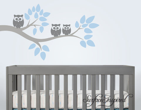 Nursery Wall Decals Cute Owl Branch Vinyl Wall Decal