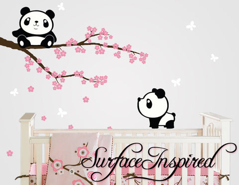 Panda Wall Decals with Cherry Blossom Tree Wall Decal