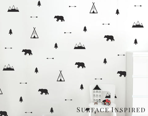 Wall Decals Woodland Bears, Arrow, Teepees, Trees and Mountains Nursery Wall Decal Decor Stickers Wall Cut in Matte Vinyl