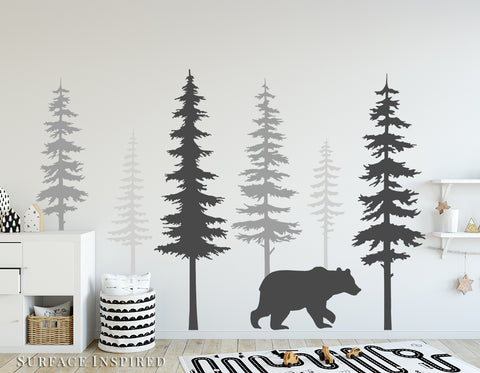 Nursery Wall Decals Pine Tree Wall Decals Large Bear Scandinavian Tree Wall Mural Stickers Nursery Wall Art Nature Wall Decals Decor Large Bear Included