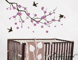 Nursery Wall Decals Purple Cherry Blossom Branch Vinyl Wall Decal