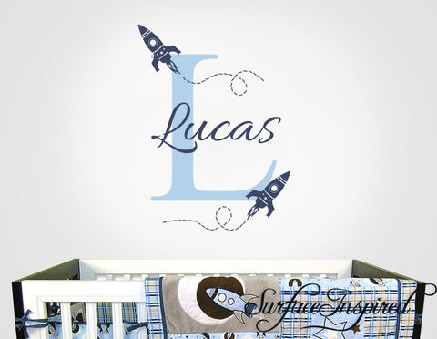 Rocket ship name wall decal for boy nursery. Monogram wall decal for boys rooms.