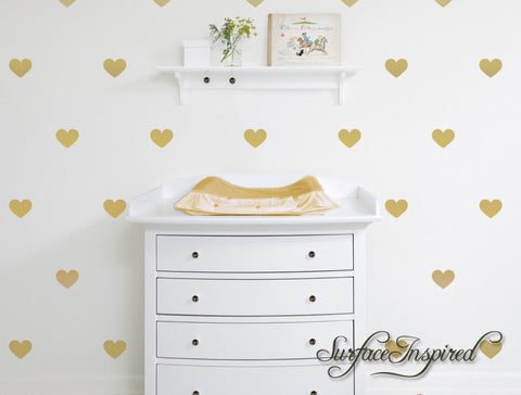 "Heart Wall Decals - 1"", 2"", 3"", 4"" heart decals for nursery and kids rooms"