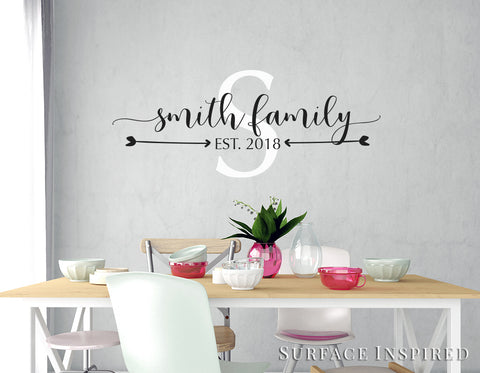 Personalized Family Name Monogram Wall Decal Vinyl Wall Art Smith Family Style Decal
