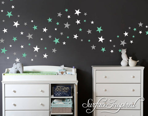 Wall Decals Stars In Variety Sizes and 3 Different Colors Nursery And Home Wall Decal Decor Stickers Star Decals 162 Total Stars in 4 Sizes