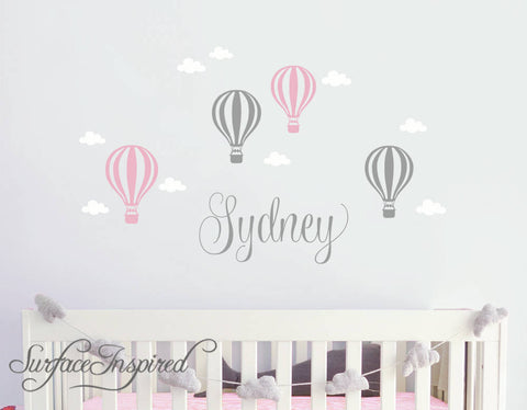 Wall Decals Personalized Name Hot Air Balloons With Clouds Wall Decals Large Stickers Vinyl Decal Stickers Nursery Personalized Name Sydney With Hot Air Balloons Style