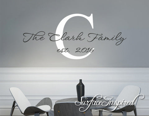 Family Name Wall Decal - Personalized Family Wall Decal Name Monogram The Williams Family Style