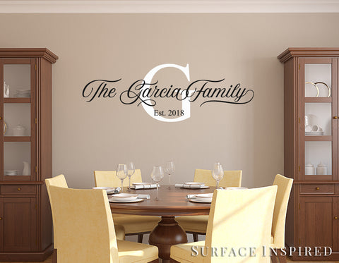 Personalized Family Name Monogram Wall Decal Vinyl Wall Art Garcia Family Style Decal