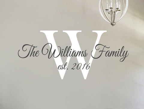 Family Name Wall Decal - Personalized Family Wall Decal Name Monogram - Vinyl Wall Decal Family Wall Decal Williams Family Style Decal