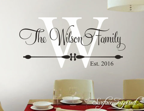 Personalized Family Name Monogram Wall Decal Vinyl Wall Art Wilson Family  Style