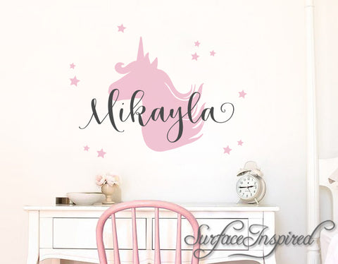 Nursery Wall Decals. Personalized names wall decal with unicorn for girls rooms. Personalized unicorn wall decal made in any colors Mikayla Style Decal