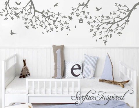 Nursery Wall Decal Tree Wall Decal Kids Wall Decal Whimsical Branches With Birds and Birdhouse