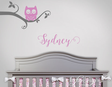 Wall Decal Nursery Tree Wall Decal For Kids With Personalized Name - Whimsical Owl Branch